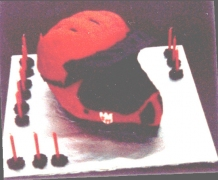 Downhill Racing Helmet Cake - Walter's 17th