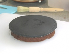 "Circle of marzipan on top of ""flat disc"""
