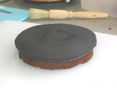 "Circle of marzipan on top of ""flat disc"""